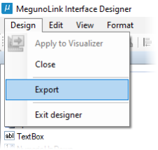 Export interface panel