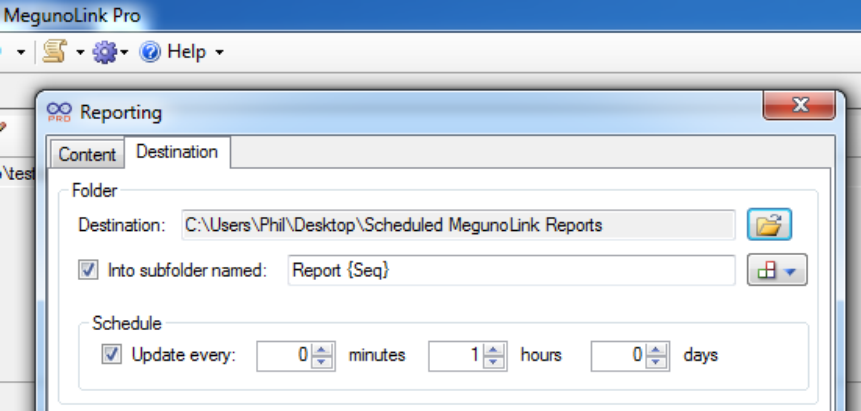 Modify destination for reports