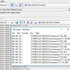 "Screenshot of MegunoLink ""Log to File"" and ""Monitor"" visulaizers with a Notepad window containg the same data overlaid"