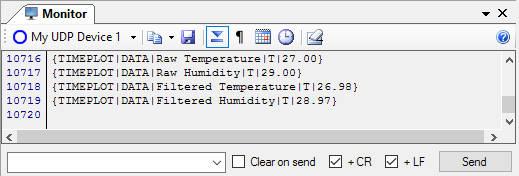 Screenshot of a monitor visualizer displaying some received raw and filtered measurements