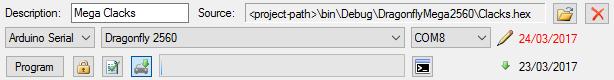 Program panel for hex files