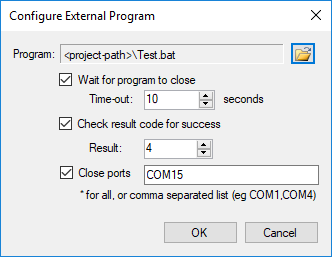 Configure Start External Program Panel