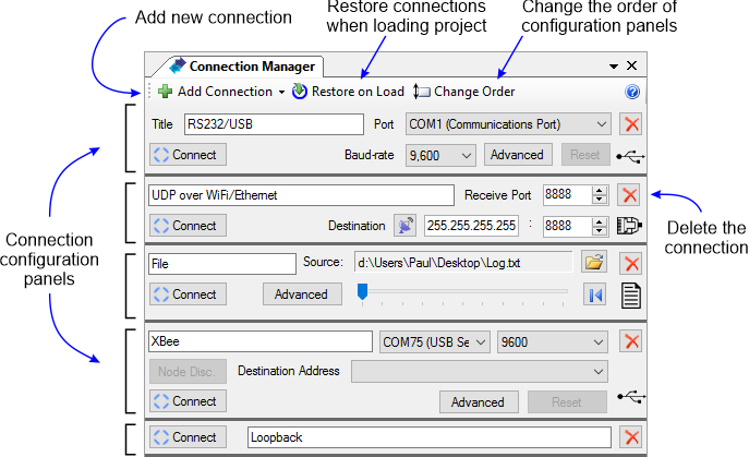 Connection configuration manager