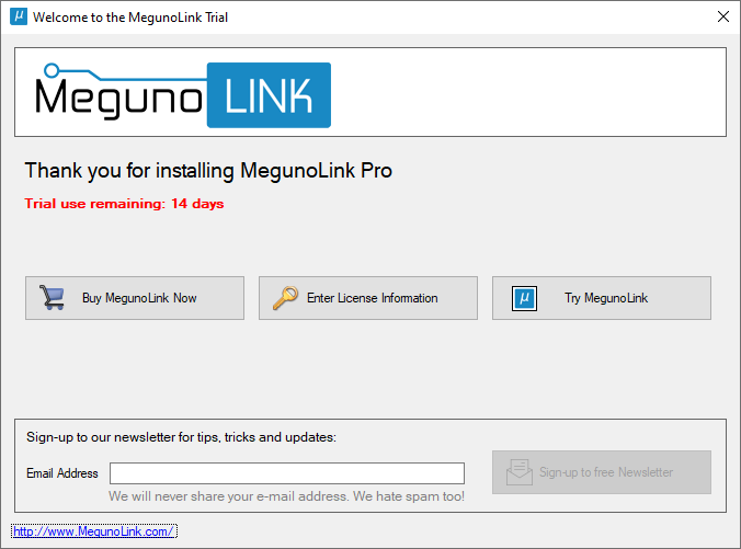 Start MegunoLink Trial