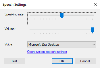 Text to speech settings