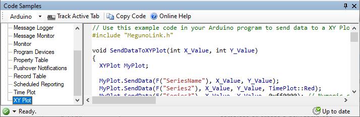 Code samples panel