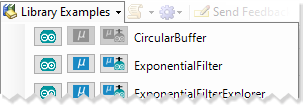Library examples menu