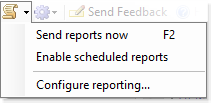 Scheduled reporting menu